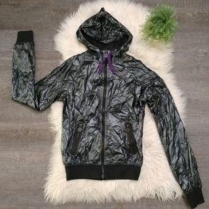 Nike Metallic faux leather full zip windbreaker